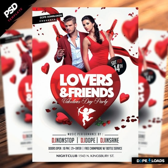 Lovers & Friends Valetine's Day Flyer