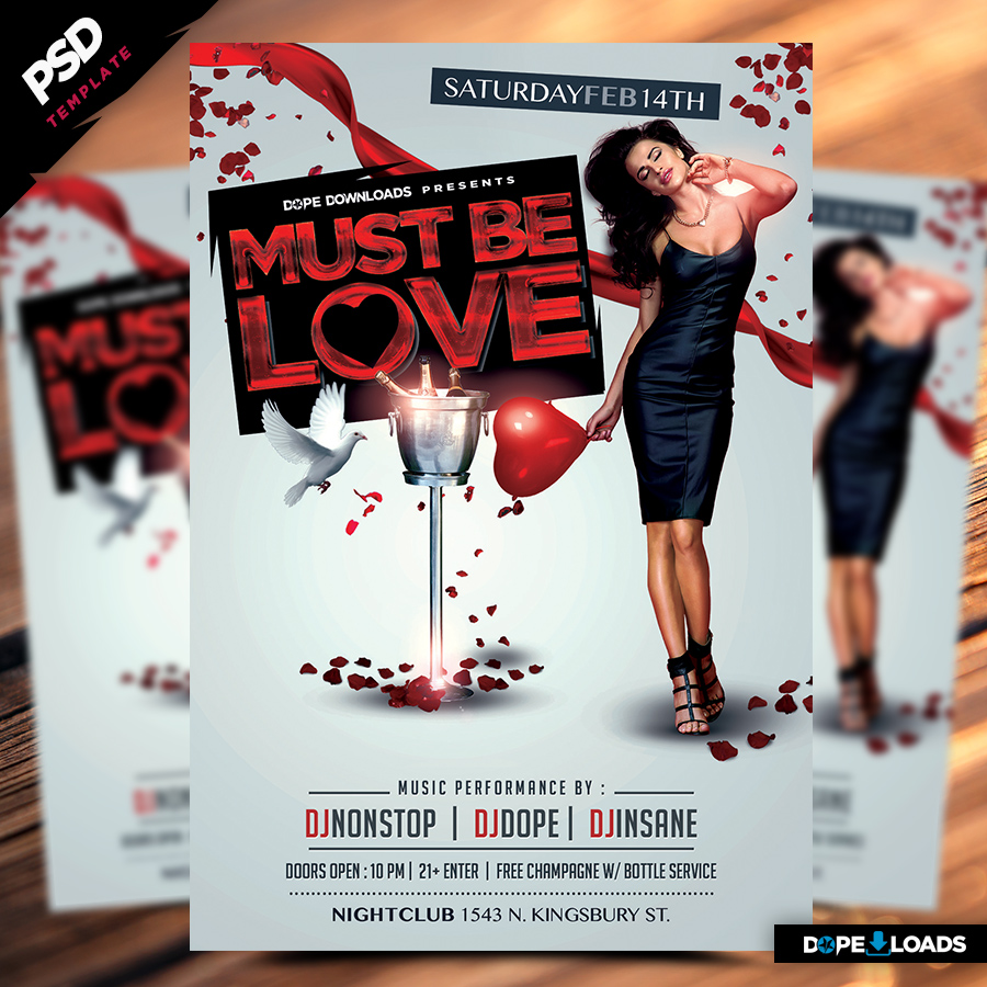 Must Be Love Valentine's Day Flyer