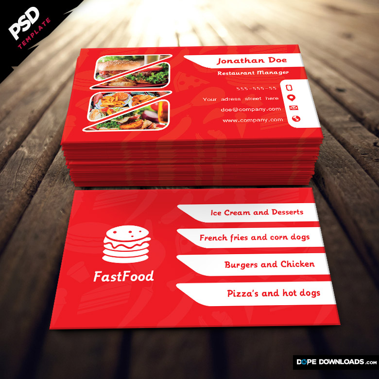 Fast food restaurant business card dope downloads restaurant business card template flashek