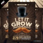 Let It Grow Mustache Party Flyer