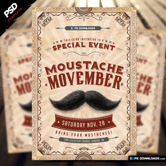 Moustache Movember Party Flyer