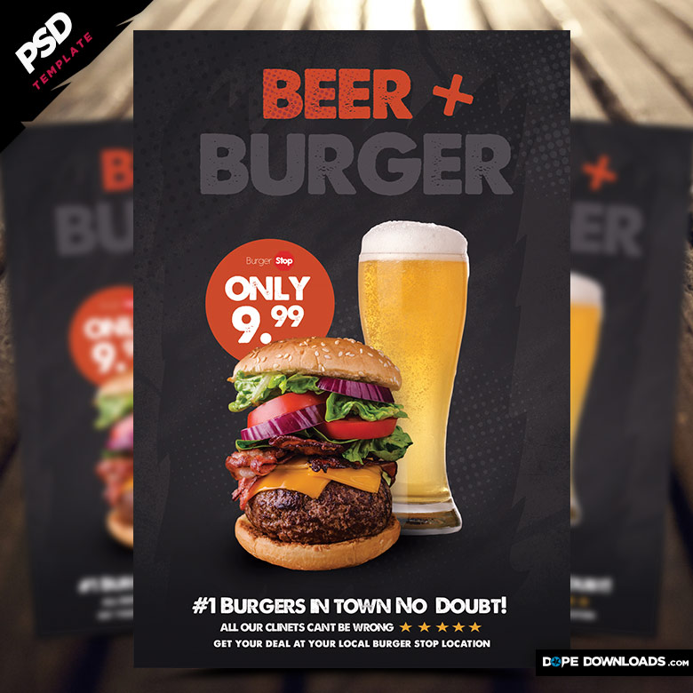 Beer and Burger Flyer Template