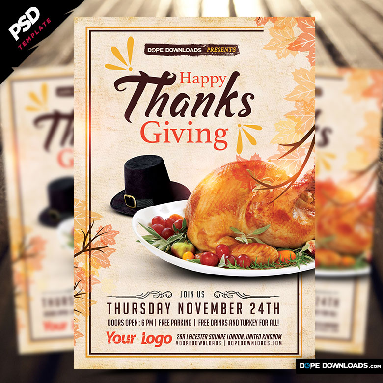 Happy Thanksgiving Flyer Template Dope Downloads