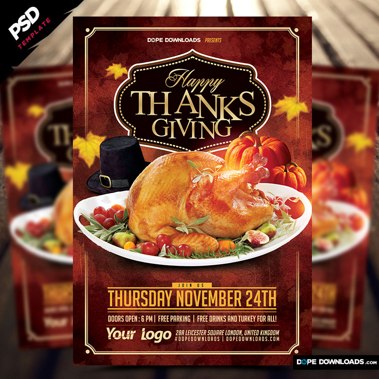 Happy Thanksgiving 2016 Flyer Template Dope Downloads