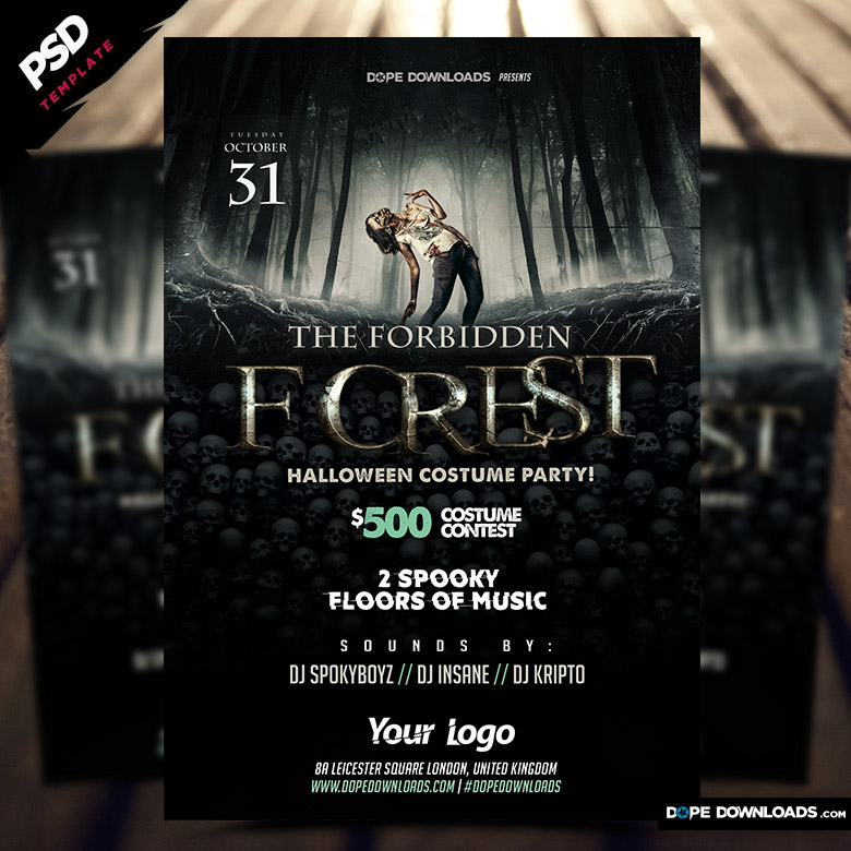 Forbidden forest Halloween flyer-template